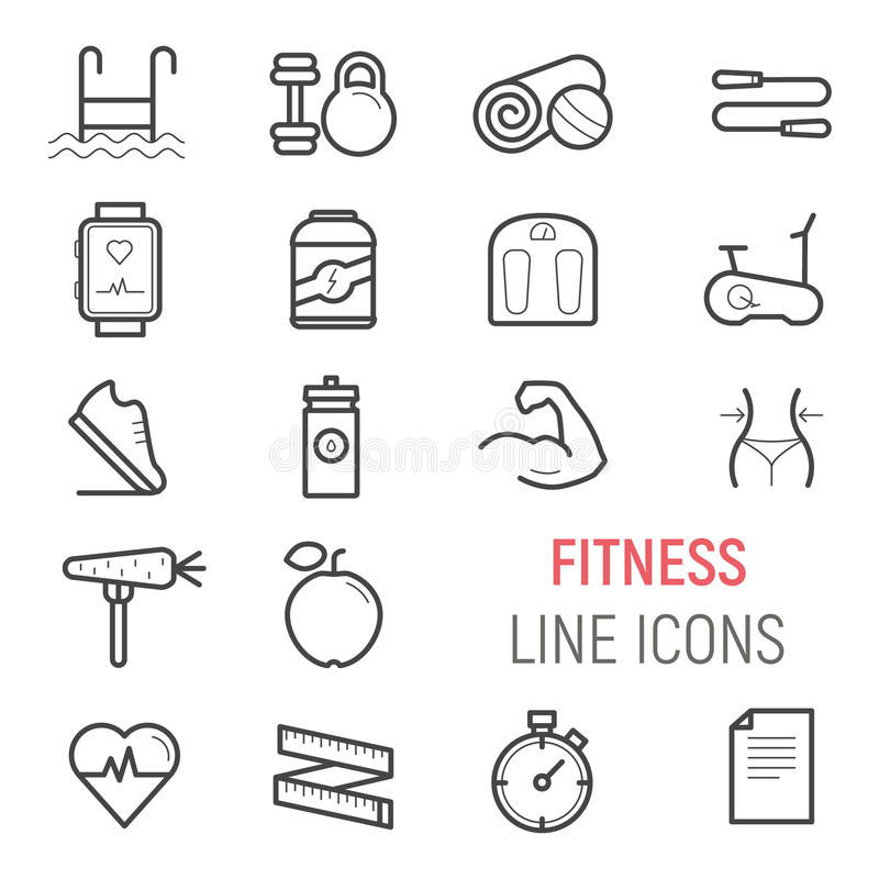 Fitness icons set. Vector flat line illustrations. stock photography