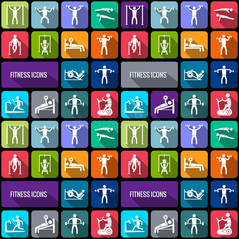 Fitness icons set. Workout sport and fitness gym training decorative icons flat set isolated vector illustration vector illustration