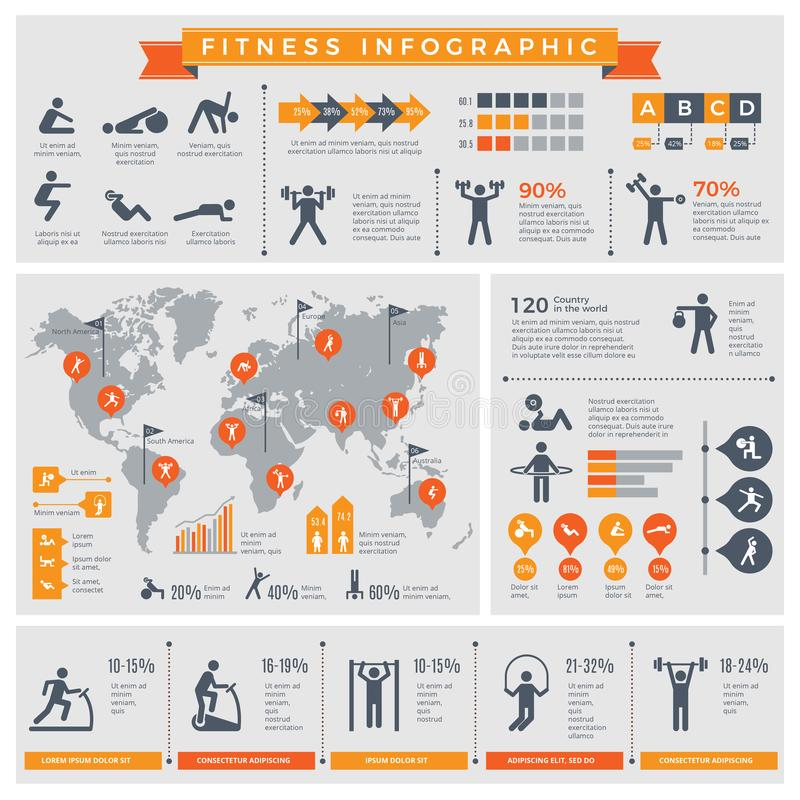 Fitness infographic. Sport lifestyle healthy people making exercises in gym or outdoor vector infographic template. Illustration of fitness and sport exercise stock illustration