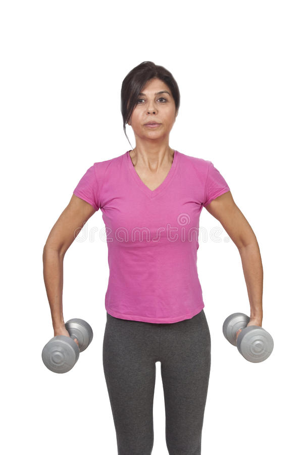 Fitness Instructor with dumbells royalty free stock photography