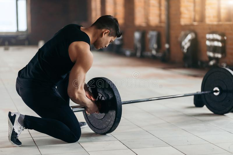 Fitness instructor preparing for workout stock image