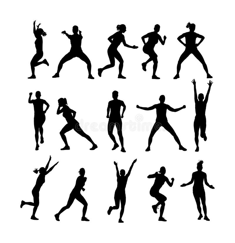 Fitness instructor training silhouette isolated on white background. Sport personal trainer woman. Gym and lifestyle. royalty free illustration