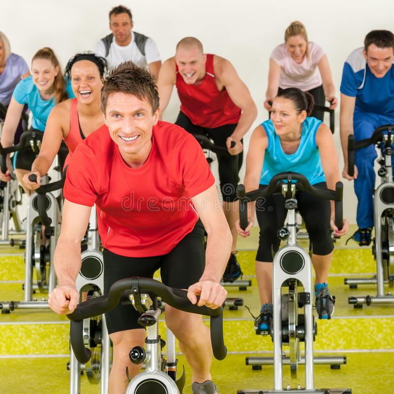 Free Fitness Instructor With Spinning Class Stock Photos - 24782833