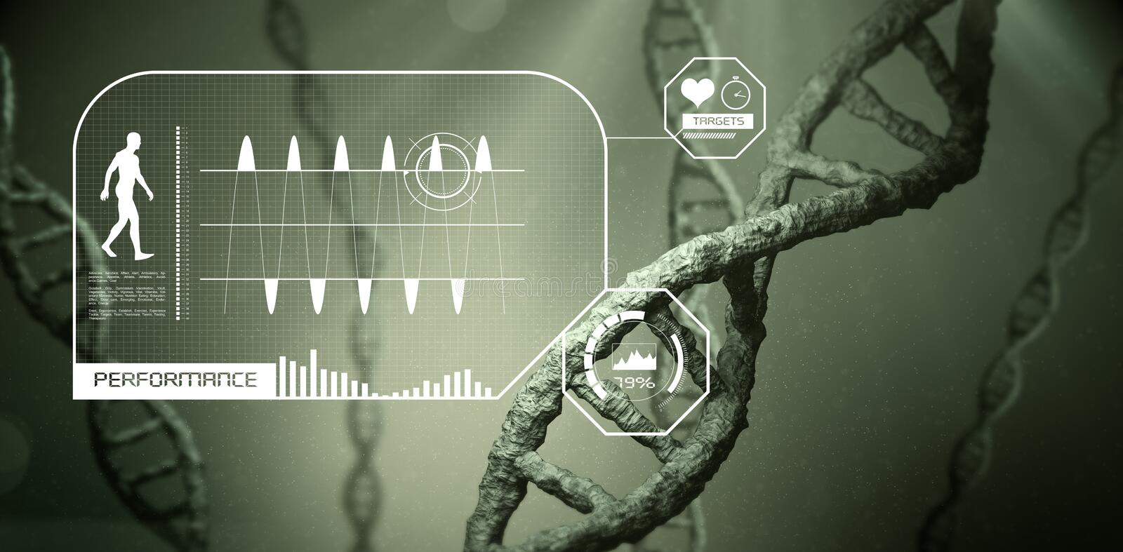 Fitness interface. Against view of dna stock illustration