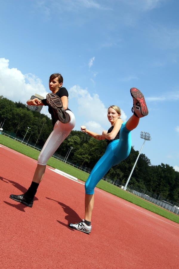 Fitness Kicking exercises stock image