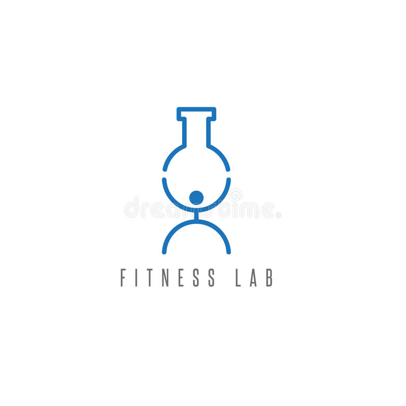 Fitness lab abstract vector design template. Illustration royalty free illustration