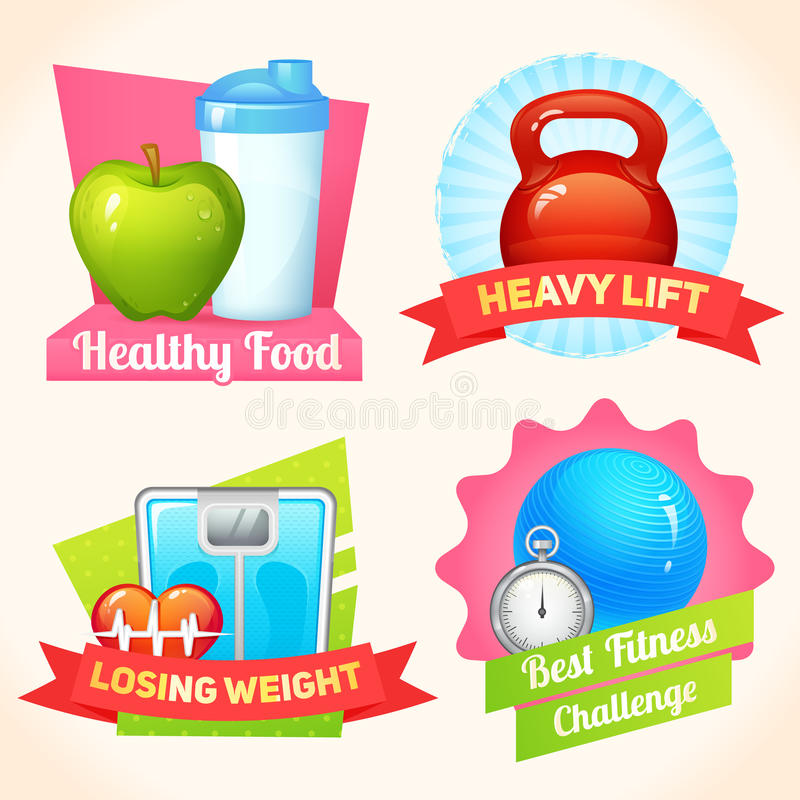 Fitness labels set. Healthy food fitness lifestyle heavy lift labels set isolated vector illustration vector illustration