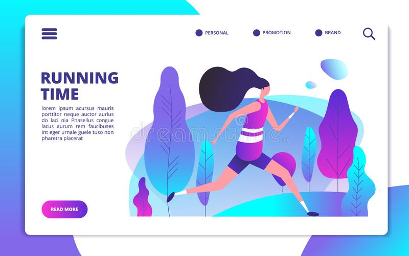 Fitness landing page. Sporty girl running in summer park. Healthy people workout outdoor. Sport lifestyle and training stock illustration