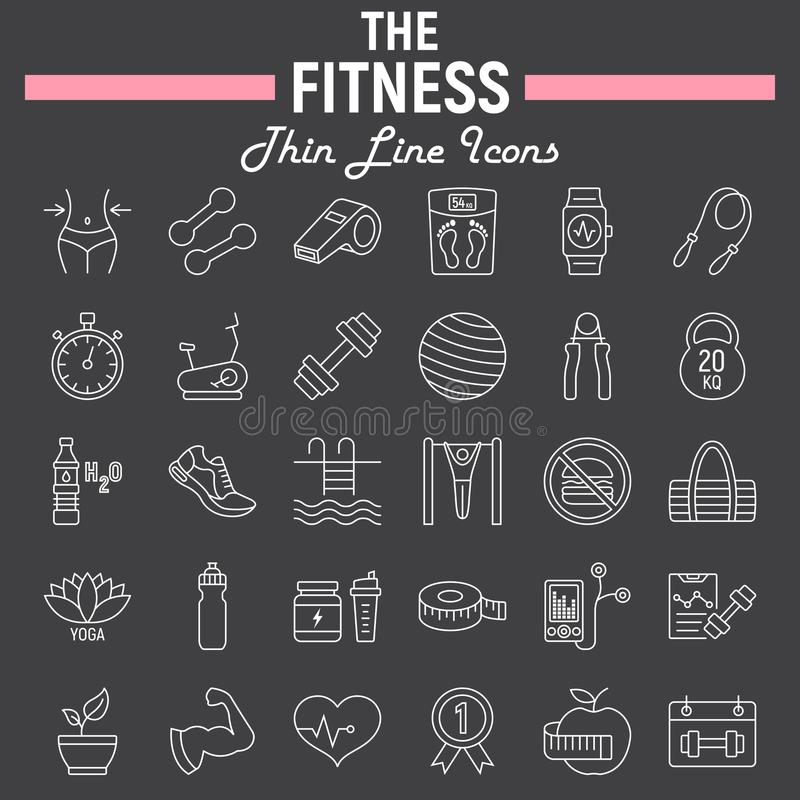 Fitness line icon set, sport symbols collection royalty free illustration