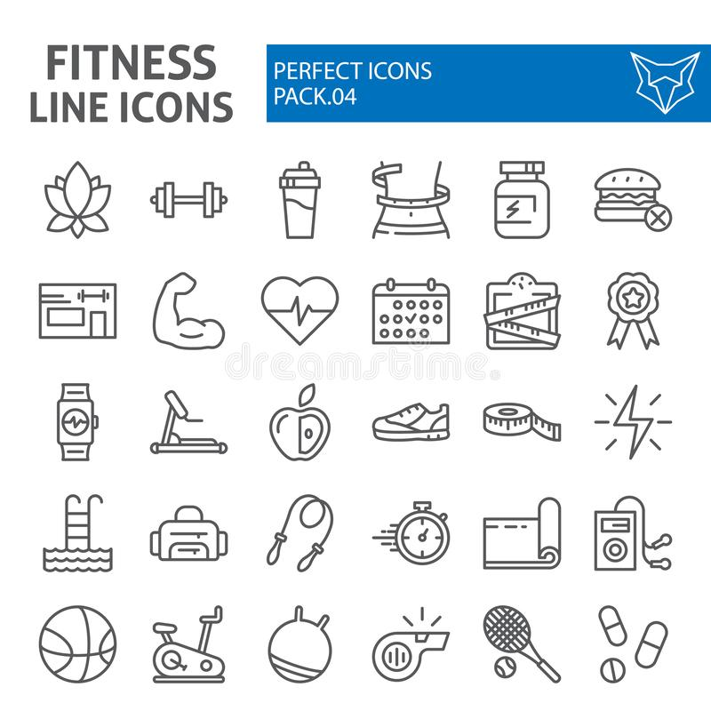 Free Fitness Line Icon Set, Sport Symbols Collection, Vector Sketches, Logo Illustrations, Workout Signs Linear Pictograms Stock Image - 136175791