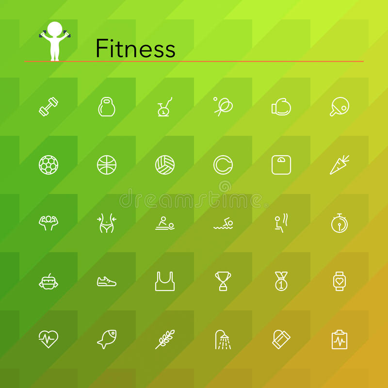 Fitness Line Icons stock illustration