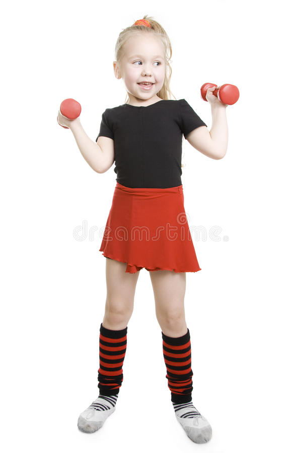 Fitness little girl. royalty free stock images