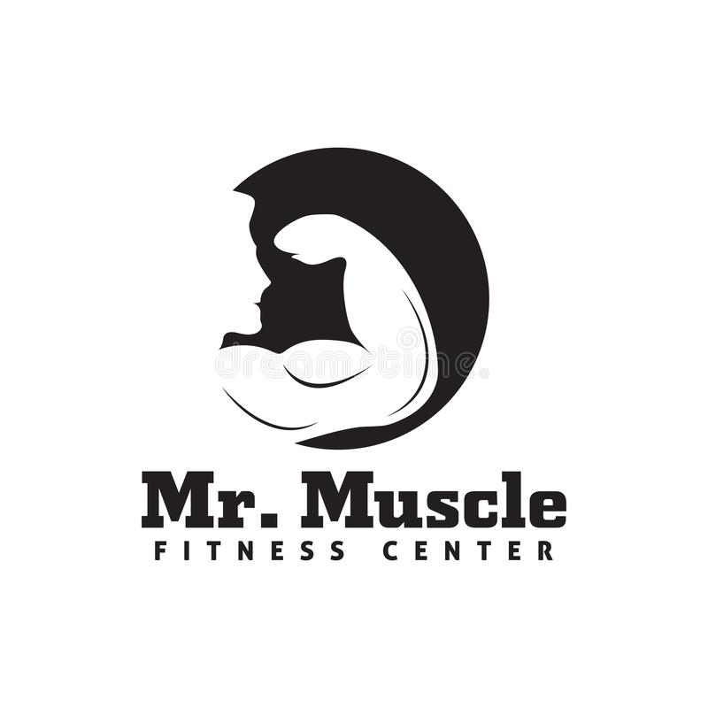Fitness logo design template  isolated illustration. Gym, symbol, sport, emblem, icon, club, body, weight, bodybuilding, graphic, strong, healthy, muscle royalty free illustration