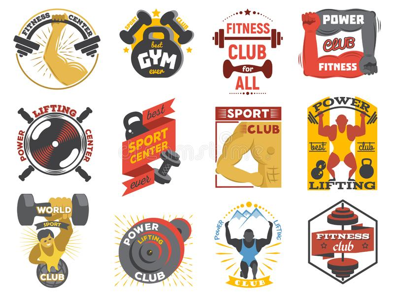 Fitness logo gym sports club of power lifting and bodybuilding logotype with bodybuilder or powerlifter illustration set stock illustration