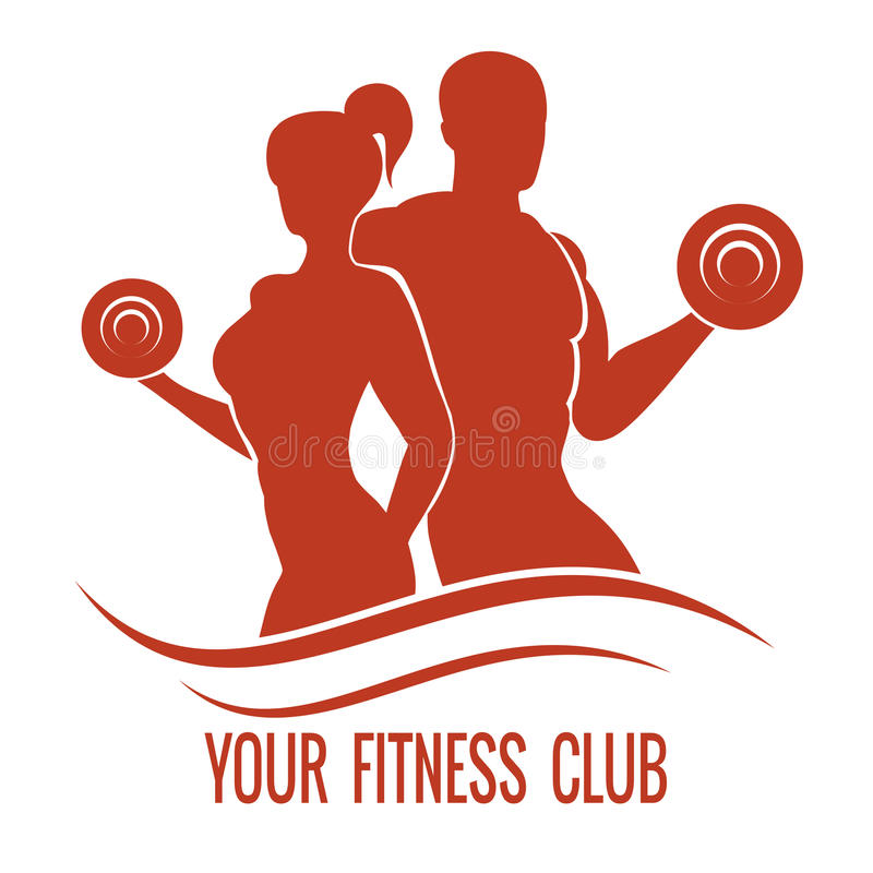 Fitness logo with muscled man and woman. Silhouettes. Man and woman holds dumbbells. Vector illustration stock illustration