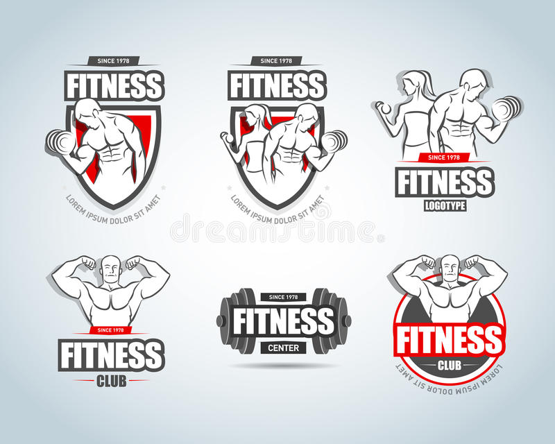 Fitness logo templates set. Gym club logotypes. Sport Fitness club creative concepts. Gym club logotypes. Bodybuilder and Sportsman Fitness Model Illustration royalty free illustration