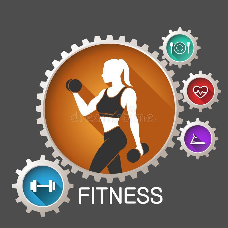 Fitness logo. Woman in vector stock illustration