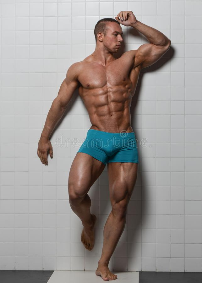 Fitness male model royalty free stock photos