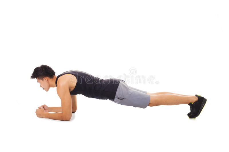 fitness man doing plank core exercise working out stock photos