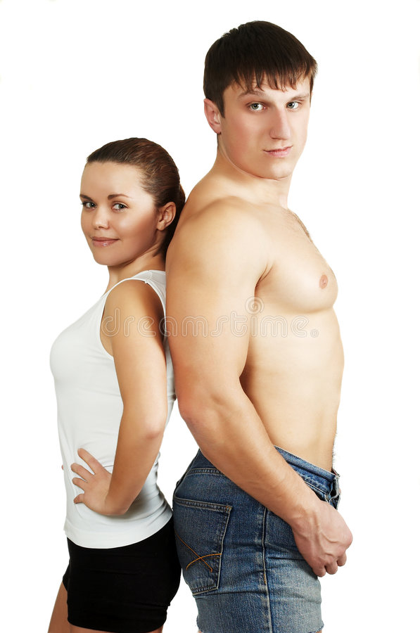 Fitness man and fitness woman. The beautiful woman and strong man after training royalty free stock photography