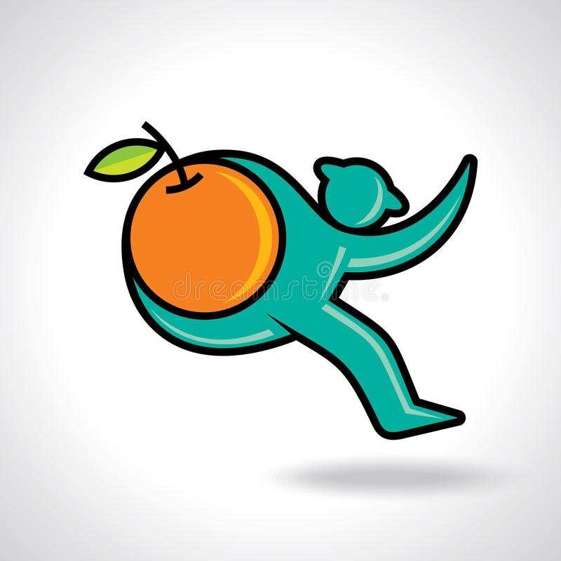 Fitness man running and hold a orange fruit. Vector vector illustration