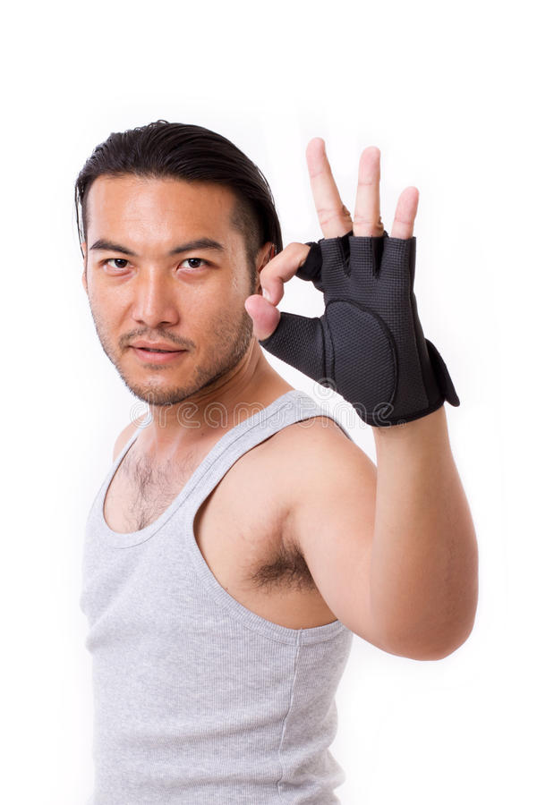 Fitness man showing ok hand sign gesture royalty free stock photos