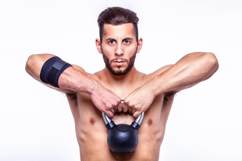Fitness man with sports dumbbells stock photo