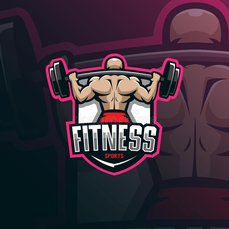 Fitness mascot logo design vector with modern illustration concept style for badge, emblem and tshirt printing. fitness. Illustration for sport team stock illustration
