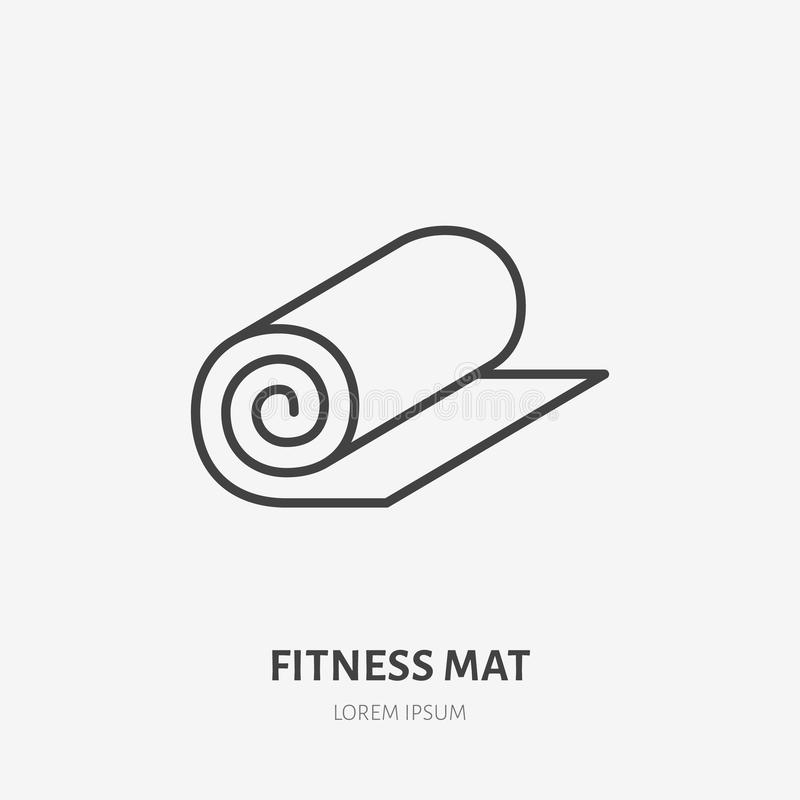 Fitness mat roll flat line icon. Yoga carpet sign. Thin linear logo for sport equipment store.  royalty free illustration