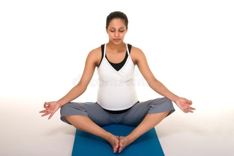 fitness medytacji pregancy fizycznej obraz stock
