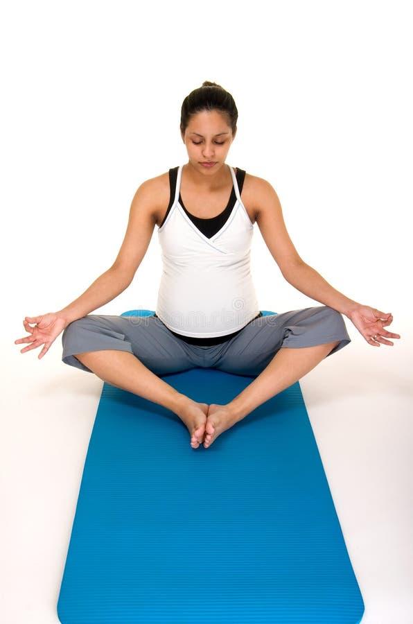 fitness medytacji pregancy fizycznej fotografia stock