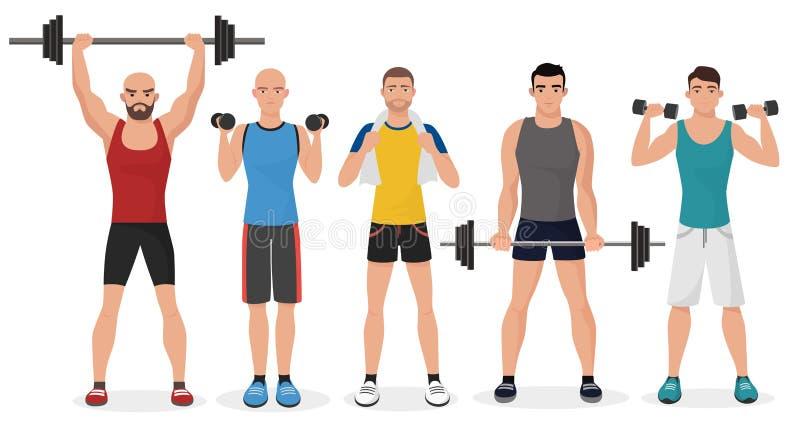 Fitness men male in gym set. Healthy lifestyle guys make exercises stock illustration