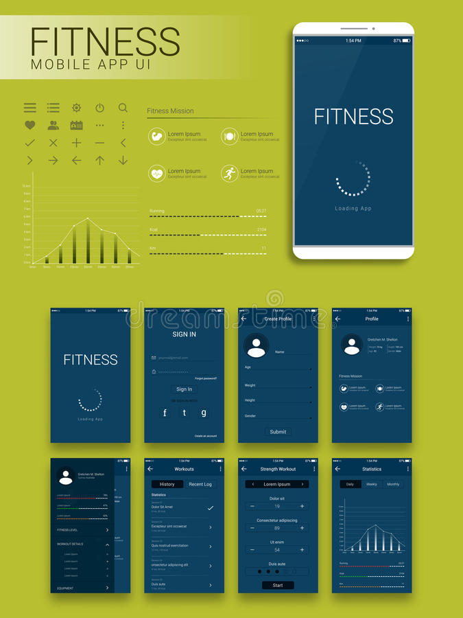 Fitness Mobile App Material Design UI, UX and GUI. vector illustration