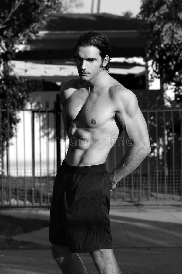 Fitness model in black and white stock photo