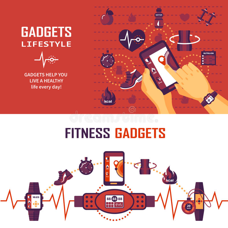 Fitness Monitoring Banners vector illustration