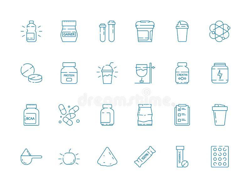 Fitness nutrition. Supplement sport food vitamins whey protein vector health vector symbols stock illustration
