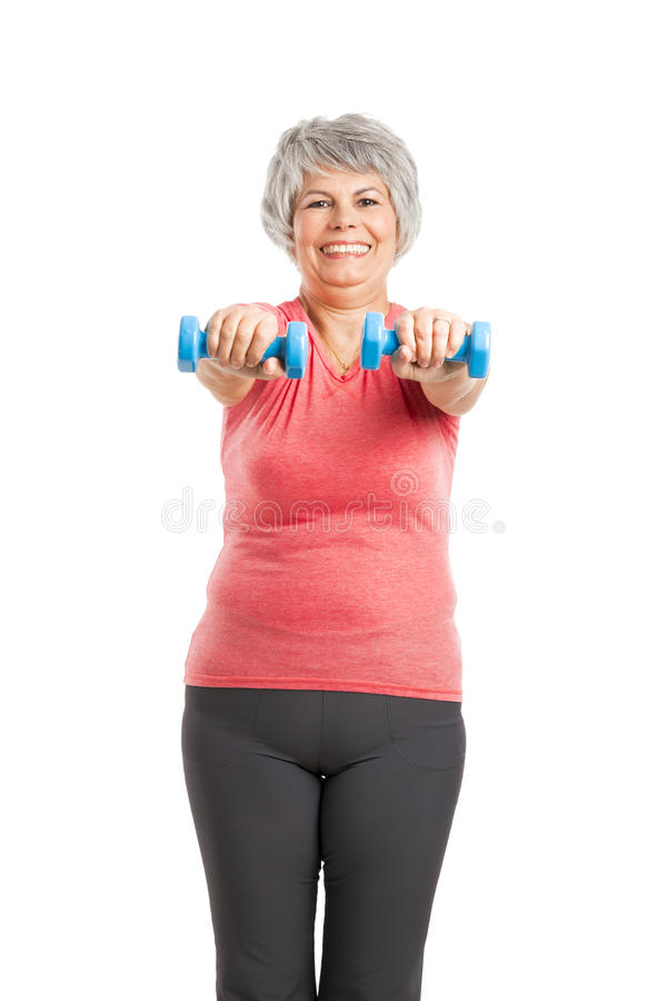 Fitness old woman royalty free stock images