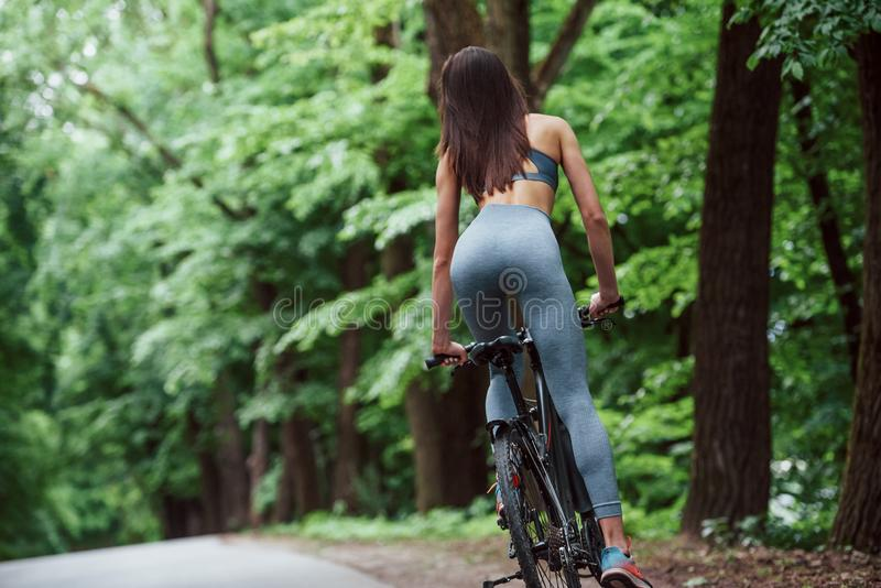 Fitness outdoors. Female cyclist on a bike on asphalt road in the forest at daytime stock images