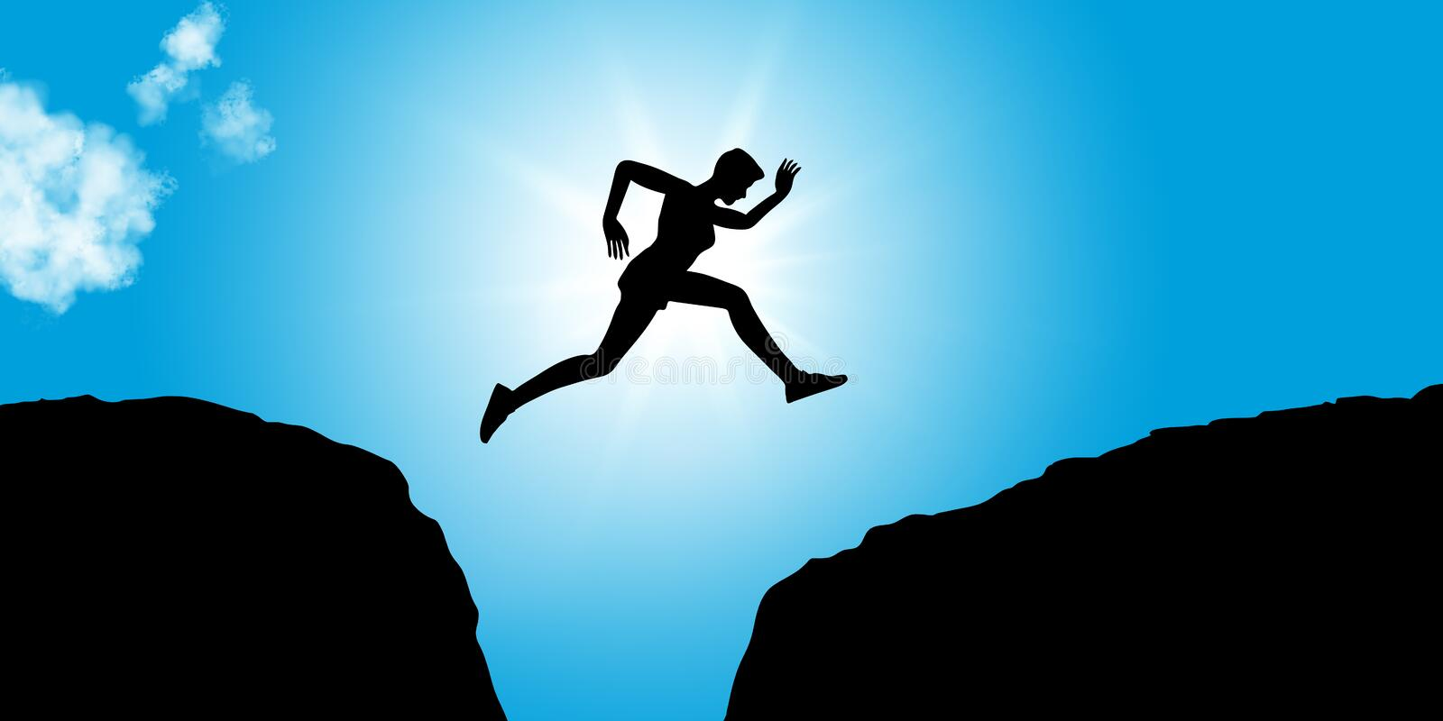 Fitness person jumps with courage between rocks. Fitness person jumps between rocks as concept image for courage and success stock illustration