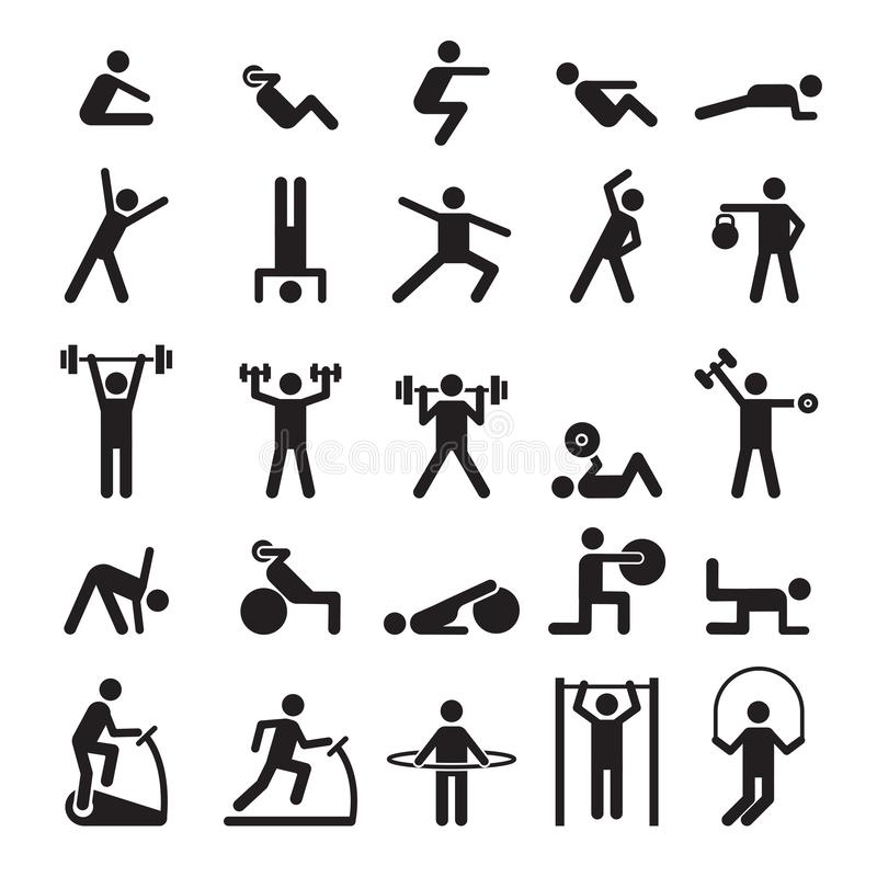 Fitness pictogram. Characters doing exercises sport figures vector icons and symbols royalty free illustration