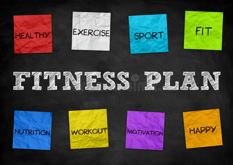 Fitness Plan. Important attributes message stock illustration