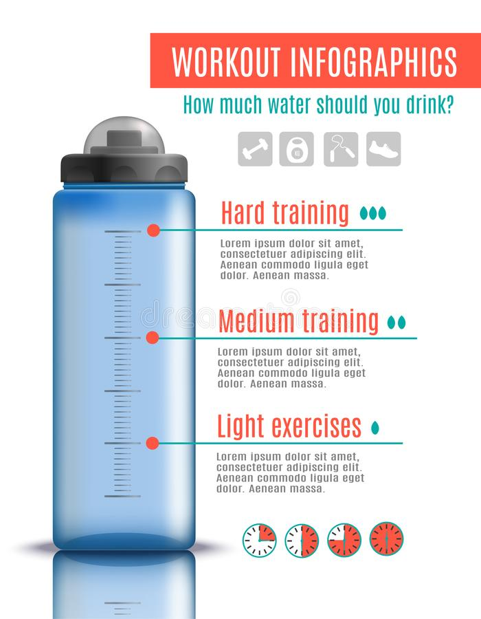 Fitness Plastic Bottle Infographics. Fitness bottle realistic infographics with image of plastic bottle with editable text captions and square pictograms vector stock illustration