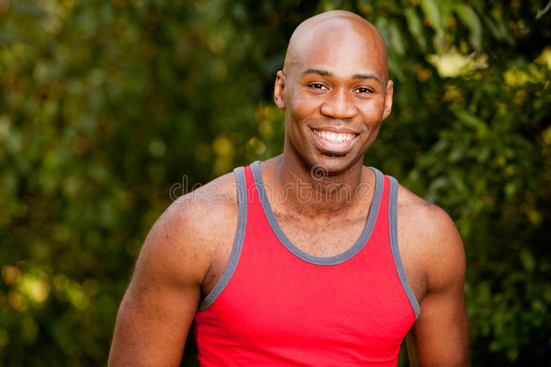 Fitness Portrait. A portrait of an african american man taking a break from exercising stock image