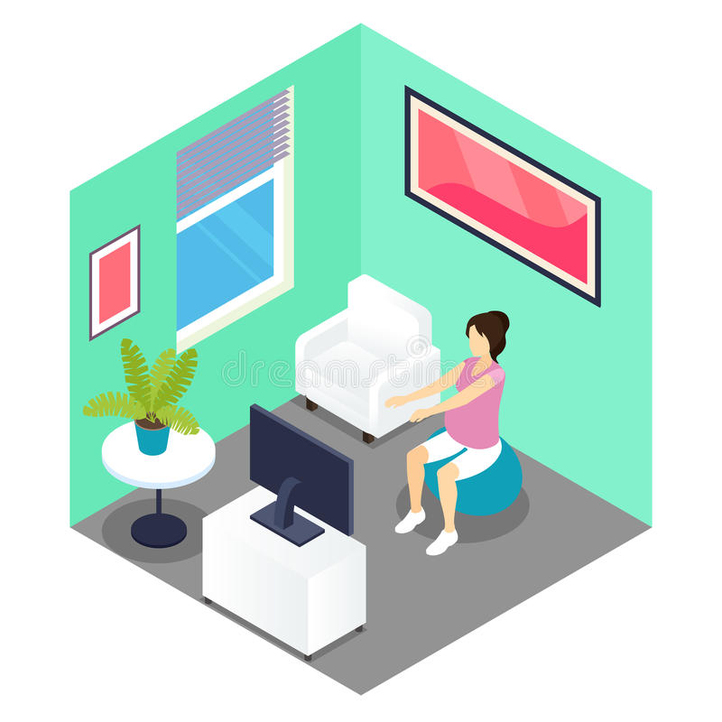 Fitness And Pregnancy Isometric Design vector illustration