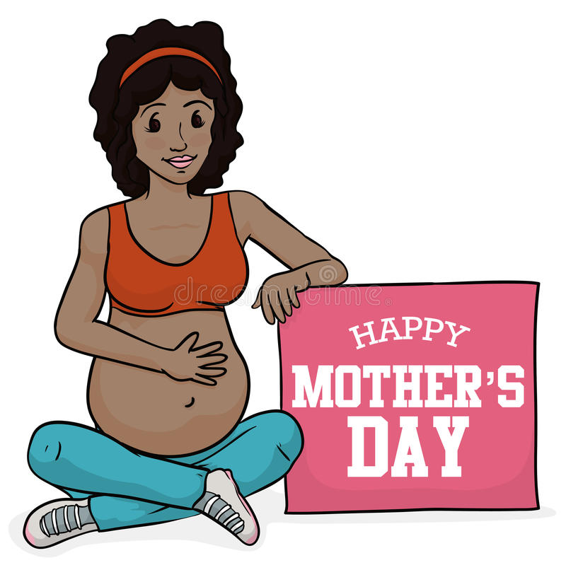 Fitness Pregnant Woman with a Pink Sign for Mother's Day, Vector Illustration stock photography