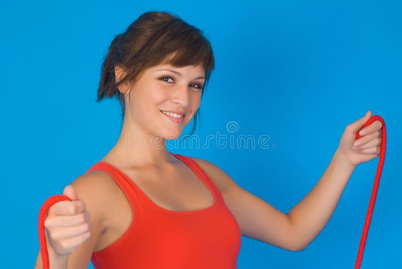 fitness programm woman royaltyfria bilder