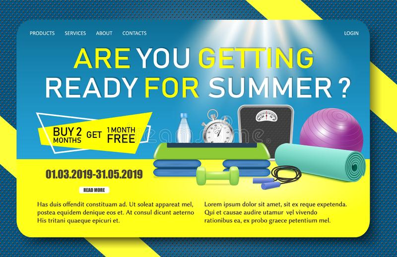 Fitness promo landing page website vector template vector illustration