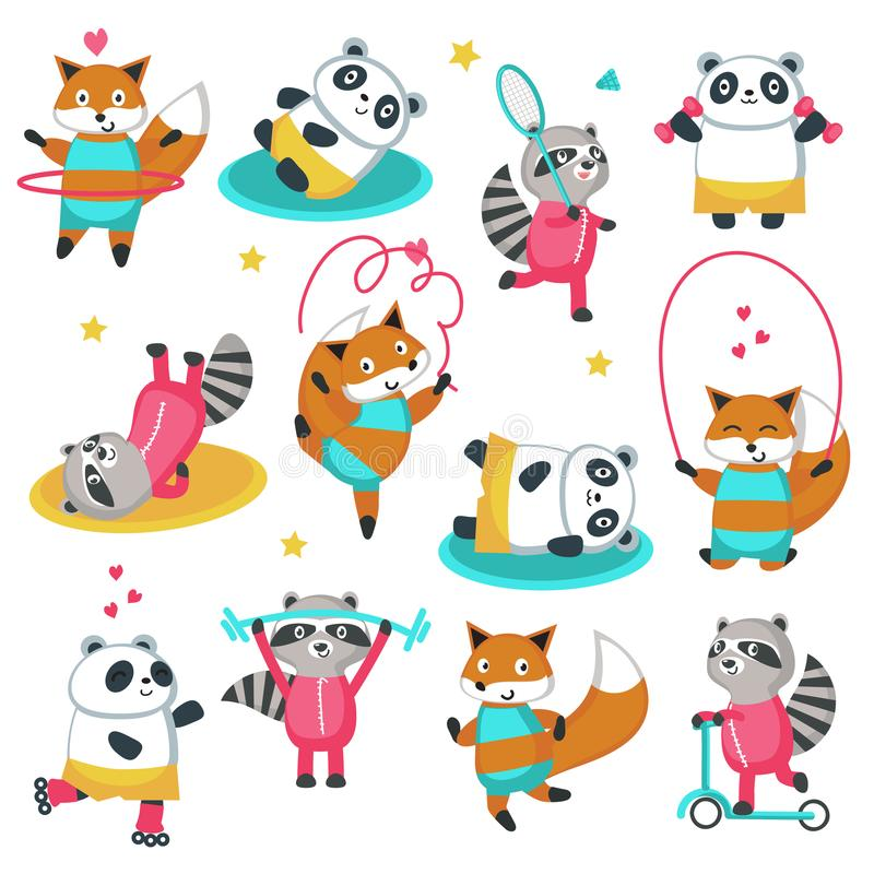 Fitness raccoon panda fox vector icon set. Fitness raccoon panda fox icon set. Vector illustration isolated on white background. Cute animals playing badminton vector illustration