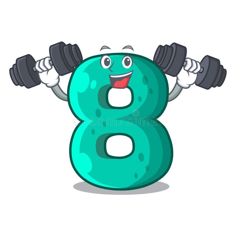 Fitness raster version cartoon shaped Number Eight. Vector illustration stock illustration