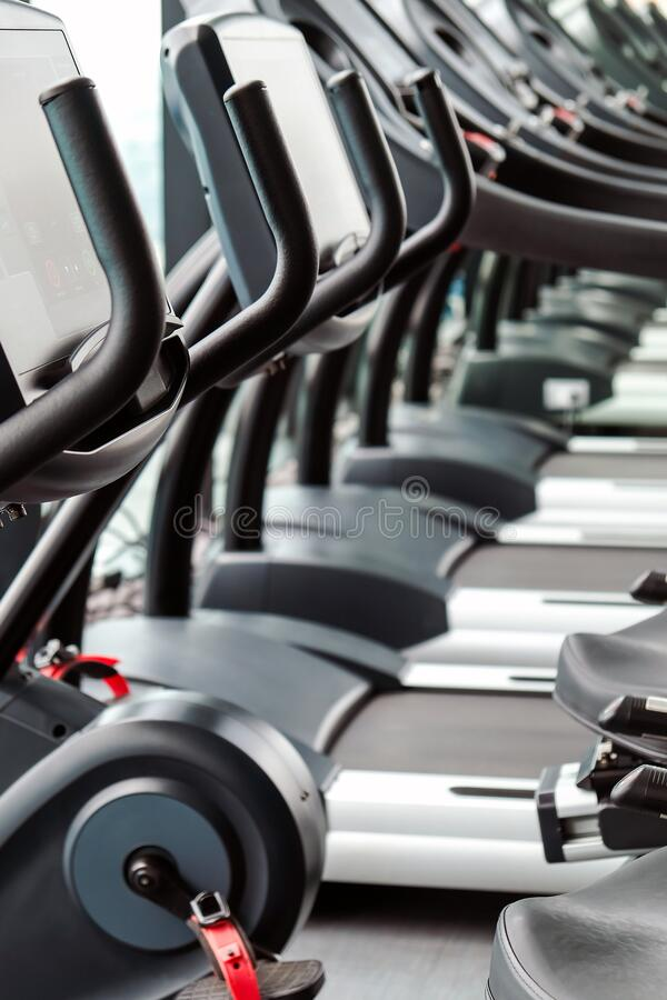 Fitness room background stock photo